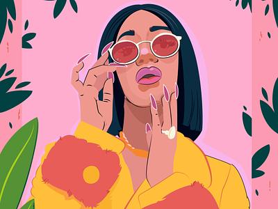 Cardi pop art music rap rapper cardi flat vector women character design drawing fashion art cartoon concept art vector illustration