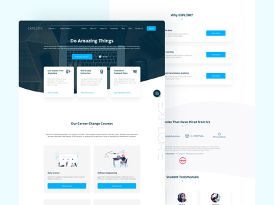 Explore Admission Platform - Machine Learning Website landing page ui agency wolfe wolfe e learning online course web design and development illustration design graphicdesign landing page design ux ui dribbble web design data science explore machine learning landing page