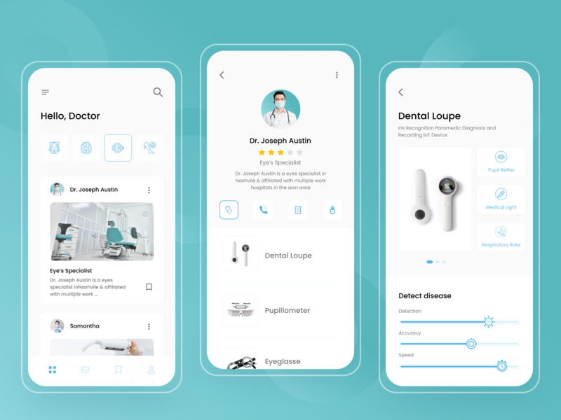 Doctor's equipment doctor clean equipment eccomerce ux ui online healthy simple ios medical health app health design doctor consultation chat android app design aplication android app android