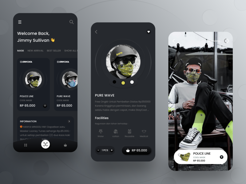 COOL MASK user experience typography dark theme fashion minimal ui shop covid-19 health dark app dark mode simple ios app design shopping app mask brand app design android ux clean ui