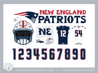 Patriots Feature Sheet usa flag lettering numbers football nfl patriots rebrand uniform
