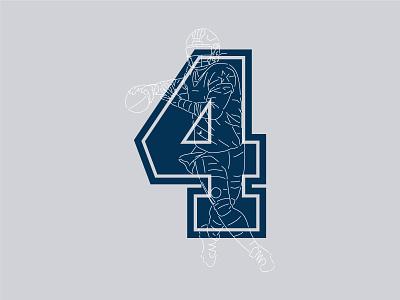 Dak Prescott #4 jersey americas team nfl qb texas star gray navy cowboys design illustration football typography