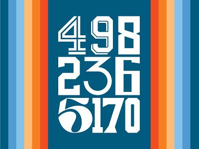 Number Set grid serif numbers stripes promotional carolina blue baby blue navy orange design gradient branding logo typography