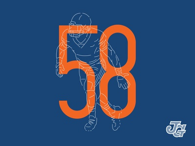 Chicago #58 navy orange layer layers chicago bears bears chicago illustration numbers nfl football branding typography