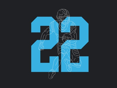 Panther #22 football nfl numbers design illustration blue carolina panthers typography