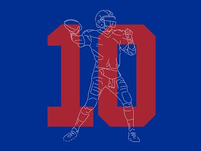 Giant #10 manning eli manning qb big blue new york giants illustration design numbers nfl football typography