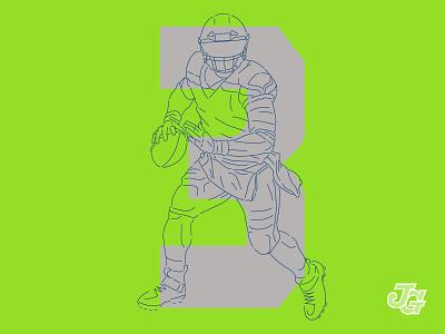 Seahawk #3 3 quarterback qb nfl seahawks number athlete russell wilson illustration design numbers branding football typography