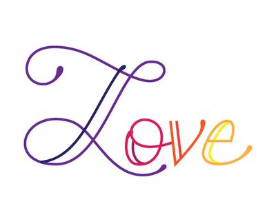 Love in Color script typography
