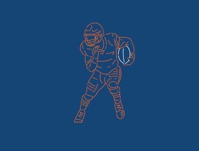 Line Art - David Montgomery navy orange football charcter simple lineart line bears chicago bears