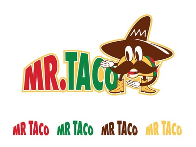 Mr Taco Logo mascot character mascot logo logotype logo design mustache sombrero yellow brown green red taco mascot logo