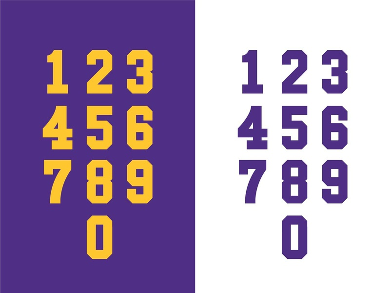 Minnesota Throwback Numerals vikings yellow purple typography numbers