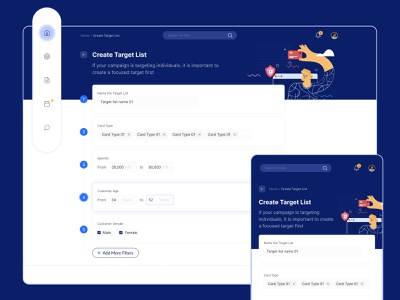 Create Target List crm visual design fintech credit card digital marketing ui illustration ux illustration ui target list