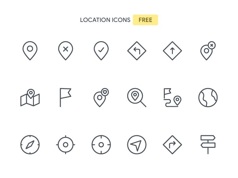Location Icons Set Freebie illustrator maps vector location line iconset icons freebies free