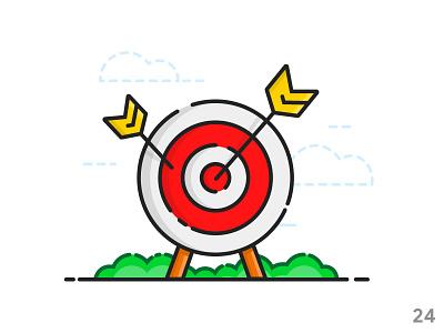 Target (illustration series 24) arrow target outline ui illustration ui vector icon set flat icon