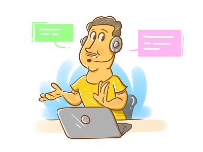 Illustration customer care executive help ui web uiillustration chat illustrator customer care call illustration
