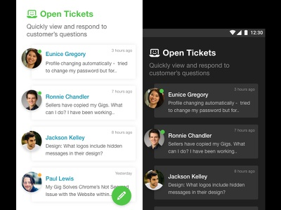 Customer care system edit dark ux ui care request android app tickets customer