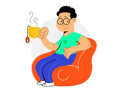 Illustration 04 vector webillustration uiillustration ux ui sketch doodle illustation illustartor design character tea bag tea drinking boy bangalore