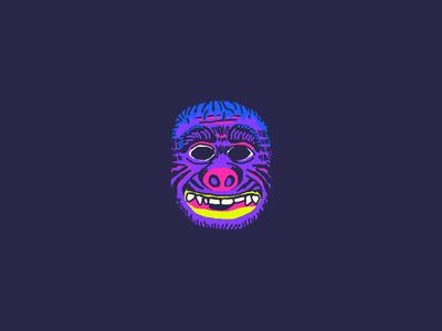 Gorilla Mask face blue purple drawing illustration halloween gorilla ben cooper mask