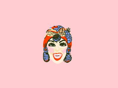 Fruit Lady Mask drawing illustration smile pink red face halloween mask fruit ben cooper