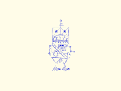 Sir Wind-Up line drawing line character square bot illustration drawing march of robots robot