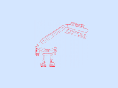 Fade-Task-Bot fade task light line drawing illustration drawing red light box clever march of robots robot fade