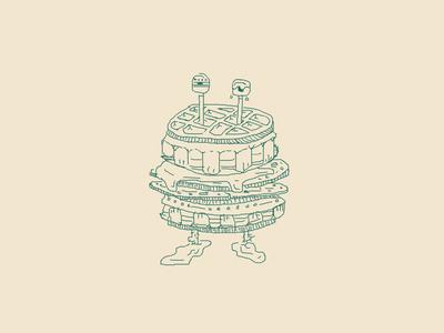 Waffle Iron syrup pancake character food waffle drawing illustration march of robots robot