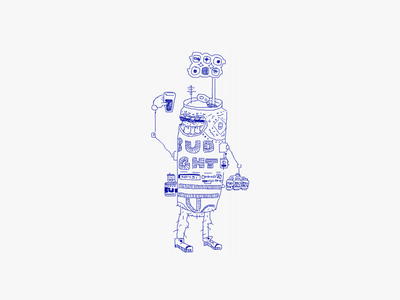 DillyTron-6 tall boy can drink character drawing illustration march of robots robot beer bud light bud