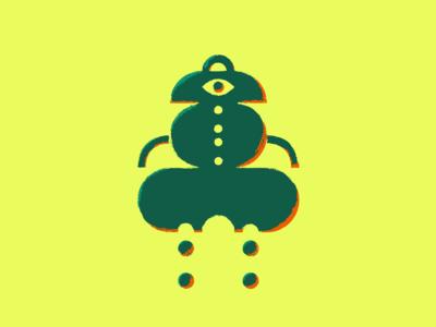Brushed Robot illustration drawing geometric brush robot