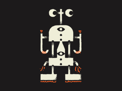 Buggitty Bugged-Out Bot robot logo character orange texture brush draw drawing illustration march of robots robot