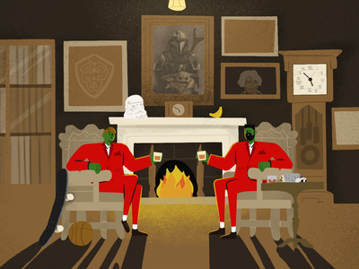 Happy Holidays! after effects procreate illustration characters loop animation cheers gentlemen parlour holiday card holidays holiday