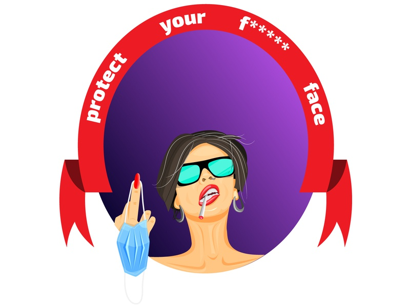 Protect your face)))) charisma shocking covid protection girl illustration girl design illustration vector