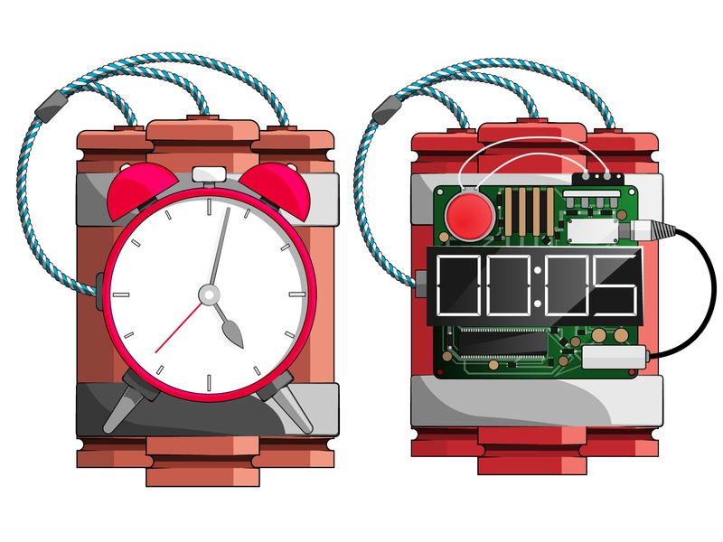Time bomb. analog and mechanical. vector illustration design timer icon time bomb
