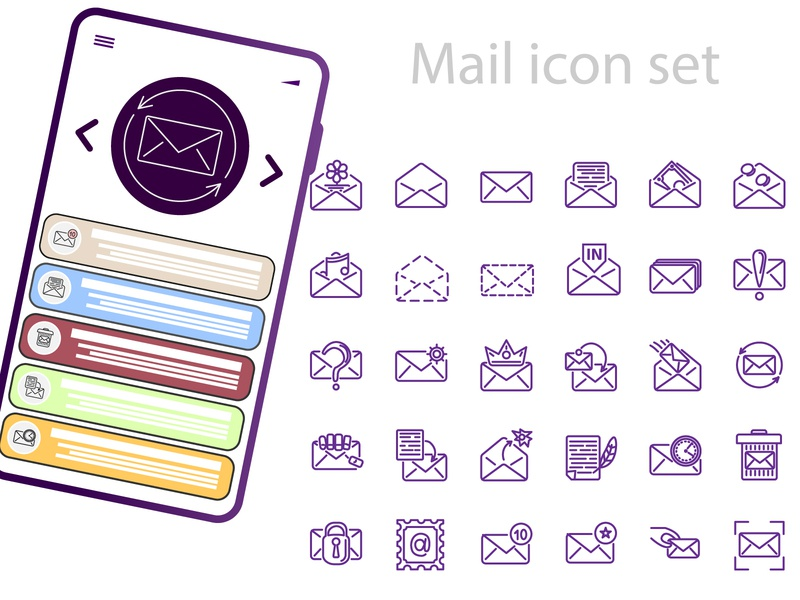 Mail icon set mail icon mail icon set icon ui design illustration vector