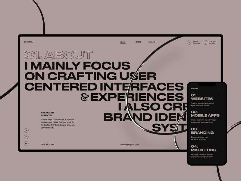 Andrvsky webdesign website typography brutalism desktop mobile ux ui grid about page abstract c4d42