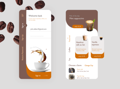 Coffee Shop Mobile App mobile ui uiux design coffee app mobile app design app