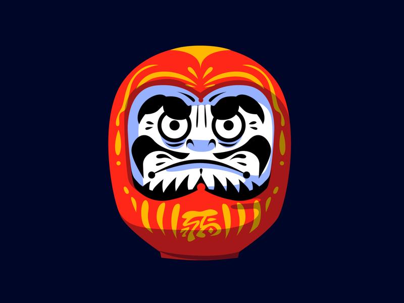 Daruma illustration illustrator vector wish japanese art symbol red gift luck 達磨 daruma