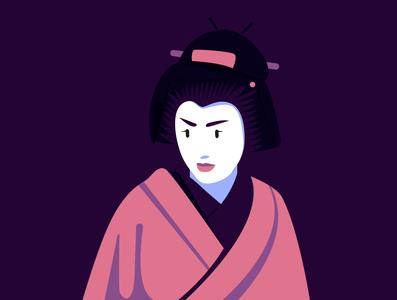 Geisha fashion editorial editorial illustration illustrator giappone japon japanese tradition pop culture vector portrait flat portrait bold illustration character japanese culture geisha