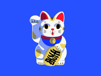 Lucky Neko japan travel 招き猫 neko lucky blue flat bold adobe illustrator vector illustration japan symbol lucky cat