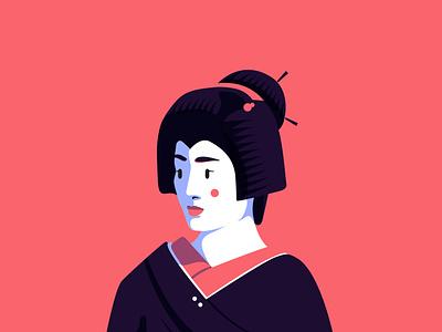Geiko portrait illustration kanzashi nihongami karyūkai hangyoku okiya oshiroi kimono kyoto 芸妓 geigi 芸子 geiko 芸者