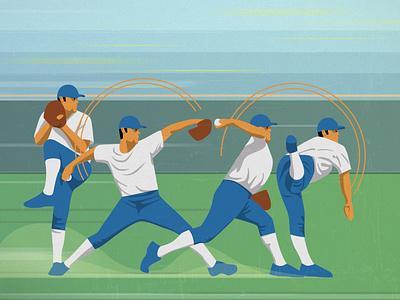 Baseball motion effects texture retro illustration design vector flat editorial illustration character editorial illustrator baseball baseball illustration