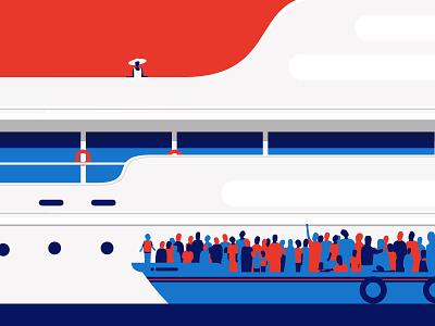 European Migrant Crisis cartoon editorial illustration migrants economic crisis responsibility exiles refugees people boat immigrant