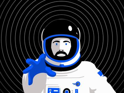 Space Oddity cosmonaut astronaut illustration satellite zenith nova nasa space moon stars cosmos spacesuit