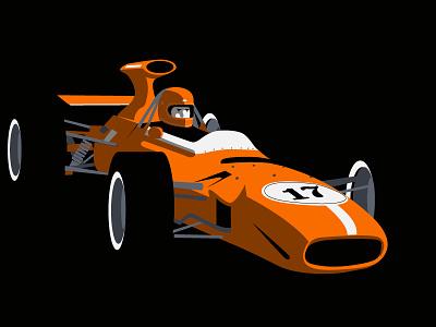 Run, run! illustrator vector orange oldies vintage formula 1 car sport illustration editorial flat