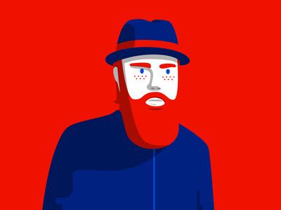 Red minimal illustration minimal design character design pop art bold illustration beard illustration illustration branding positive negative space