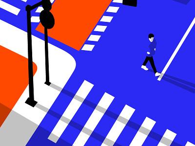 Alone editorial illustration negative positive space bold vector illustration street illustration