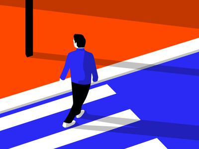 Alone shadow minimalist illustration bold illustration vector illustrator blue orange street illustration travel
