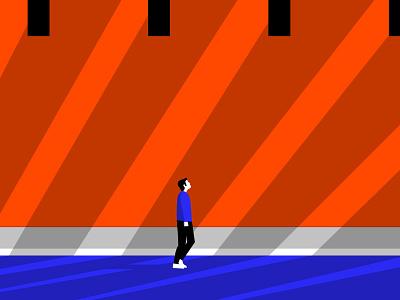 Alone guideline illustration editorial sunny vector orange illustration shadow street alone character