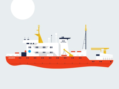 AQUARIUS refugees ship sea migrants organization sos mediteranee humanitarian organization rescue mediterranean vector illustration aquarius