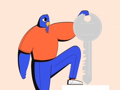 Security Eagle eagle bold minimal vector flat character design illustration system security product team bird