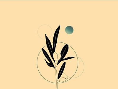 olive tree branch design minimal vector illustrator illustration
